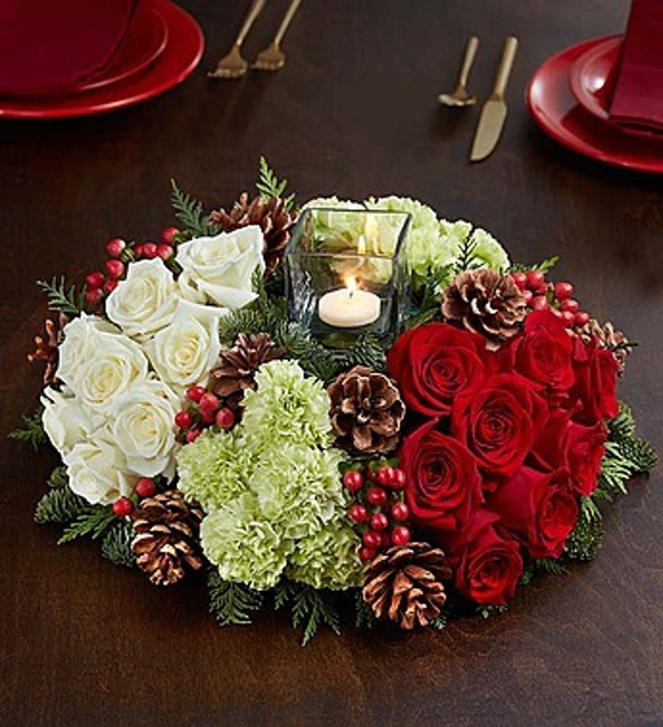 Very merry modern centerpiece kansas city florist