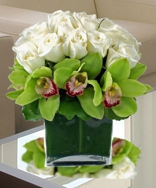 White Roses and Orchids