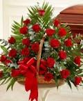 Two Dozen Red Roses in Fireside Basket