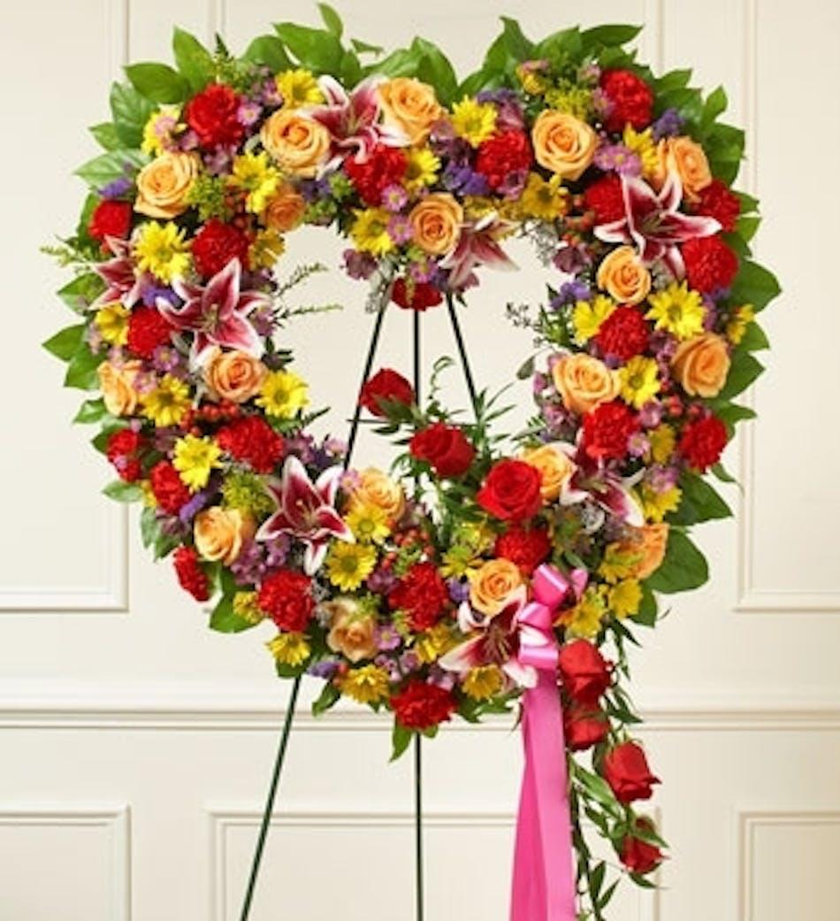Summer Garden Open Heart Wreath Kansas City Florist Flower Delivery Kansas City