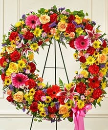 Brilliant Colors Standing Wreath