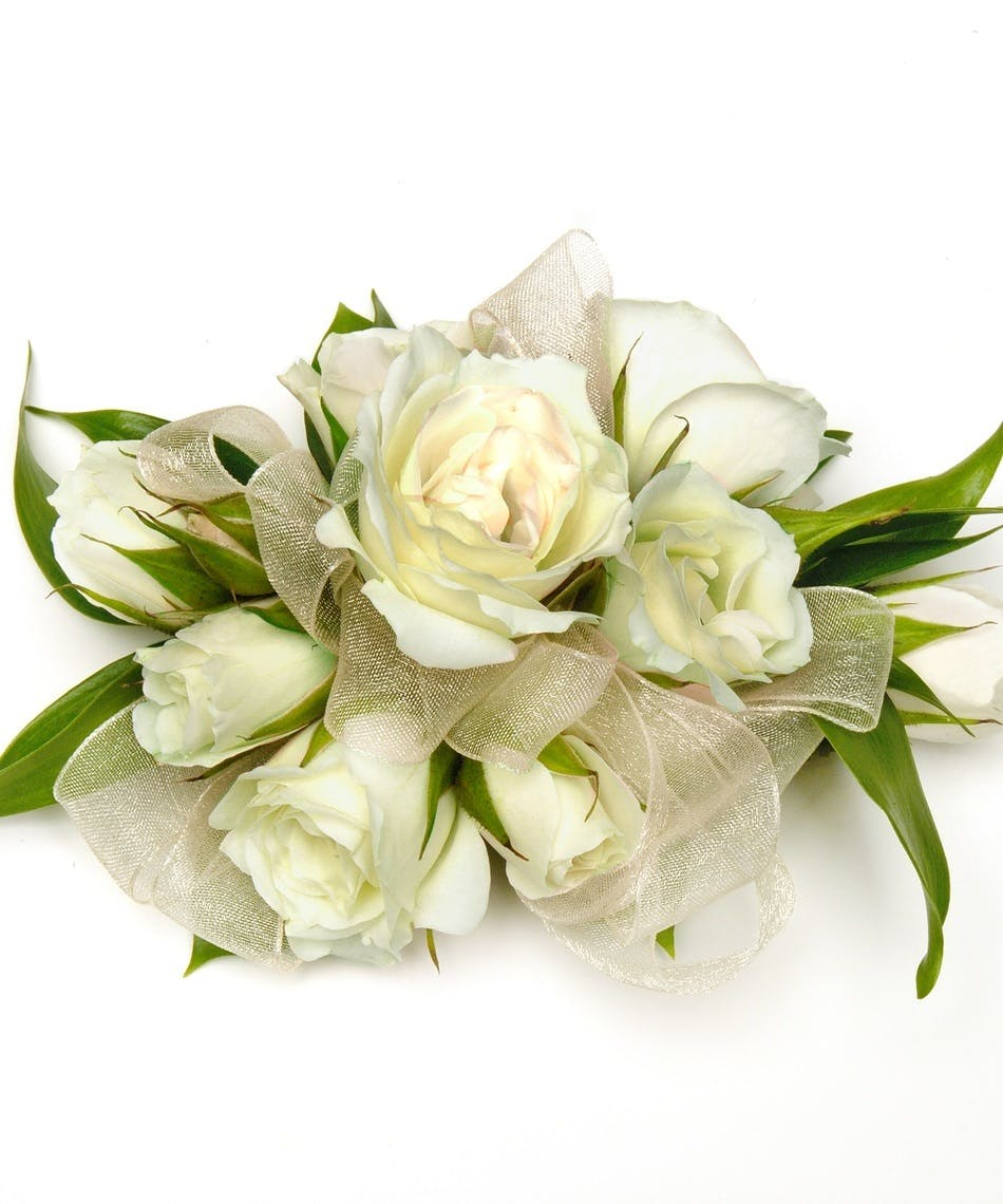 white spray rose corsage