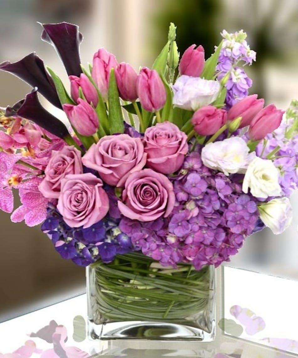 Lavender And Lilac European Cube Kansas City Florist Flower